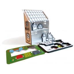 Casa de cartón con libro personajes Caperucita