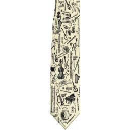 Corbata blanca i negra amb instruments